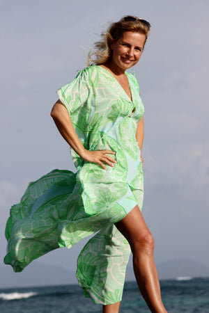 Long Kaftan in Silk Crepe-de-Chine : SAND DOLLAR GREEN designer Lotty B Mustique fashion