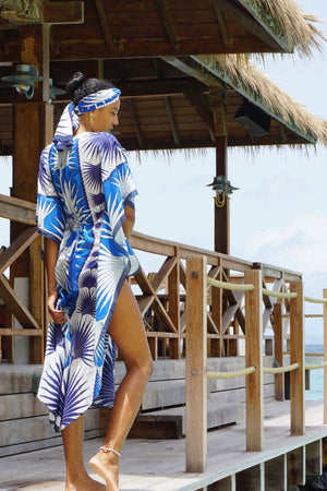 Lotty B Long Kaftan in Cotton: FAN PALM - BLUE on the veranda at Basil's Mustique