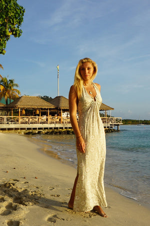 Lotty B Halter-Neck Dress (Sand Dollar Repeat Taupe) Mustique beachstyle Basils Bar