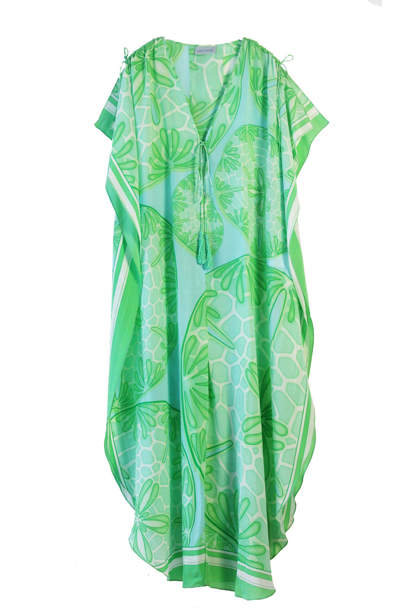 Lotty B Long Kaftan in Silk Crepe-de-Chine (Sand Dollar Green)