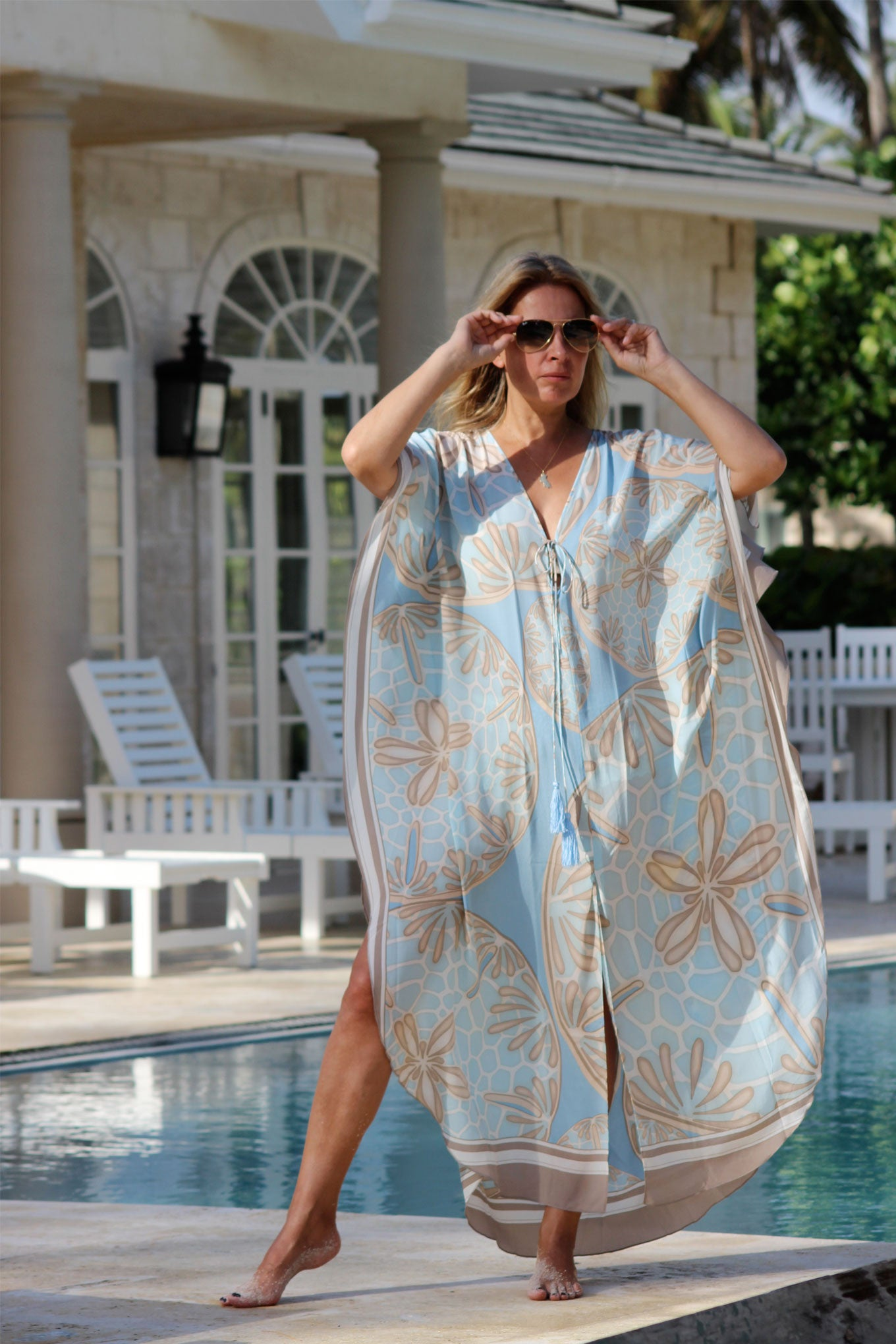 Lotty B Long Kaftan in Silk Crepe-de-Chine (Sand Dollar Taupe)