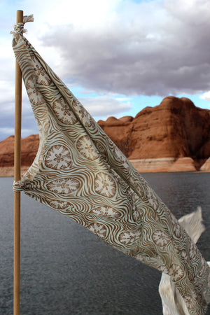 Lotty B Silk Charmeuse Long Scarf (Sand Dollar Repeat Taupe) Flying the Lotty B Flag