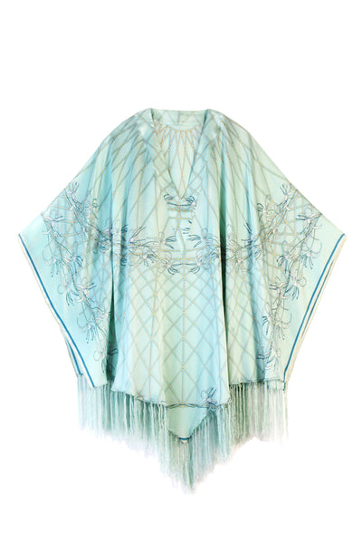 Lotty B Poncho in Charmeuse Silk (Spiderlily Pale Blue)