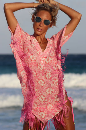 Lotty B Poncho in Crepe-de-Chine (Sand Dollar Repeat Coral) Mustique life
