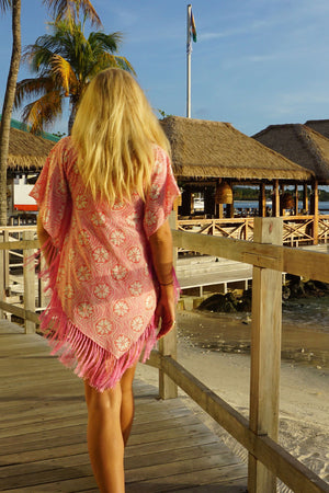 Lotty B Poncho in Crepe-de-Chine (Sand Dollar Repeat Coral) Beautiful silk vacation wear designed by Lotty B Mustique