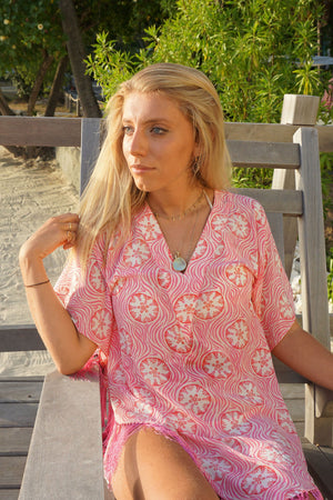 Lotty B Poncho in Silk Crepe-de-Chine (Sand Dollar Repeat Coral) Mustique beachlife