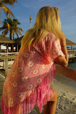 Lotty B Poncho in Crepe-de-Chine (Sand Dollar Repeat Coral) Mustique Lifestyle