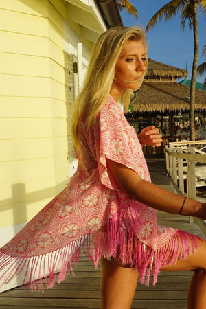 Lotty B Poncho in Crepe-de-Chine (Sand Dollar Repeat Coral) Luxury Caribbean Vacation wear designed by Lotty B
