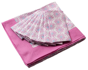 Lotty B Tablecloth & Napkin set: CACTUS - PINK