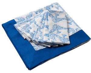 Lotty B Tablecloth & Napkin set: SEAHORSE - BLUE