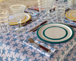 Lotty B Tablecloth & Napkin set: SEASTAR - BLUE Table set Mustique style