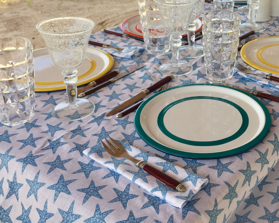 Lotty B Tablecloth & Napkin set: SEASTAR - BLUE