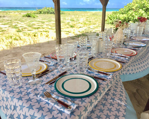 Lotty B Tablecloth & Napkin set: SEASTAR - BLUE Mustique picnic