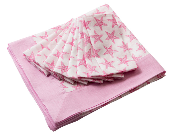 Lotty B Tablecloth & Napkin set: SEASTAR - PINK