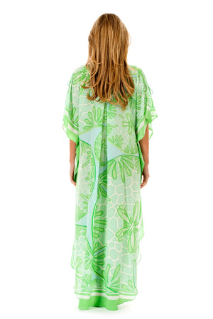 Lotty B Long Kaftan in Silk Crepe-de-Chine (Sand Dollar Green) Back