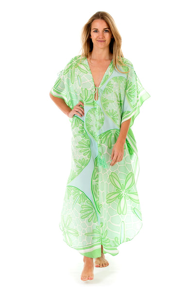 Lotty B Long Kaftan in Silk Crepe-de-Chine (Sand Dollar Green) Front