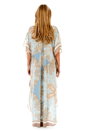 Lotty B Long Kaftan in Silk Crepe-de-Chine (Sand Dollar Taupe) Back