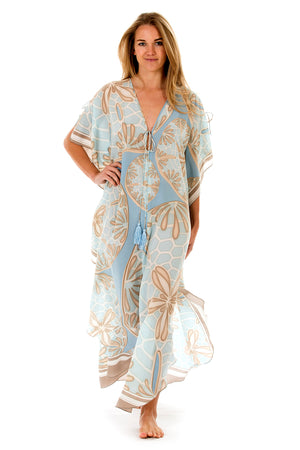 Lotty B Long Kaftan in Silk Crepe-de-Chine (Sand Dollar Taupe) Front