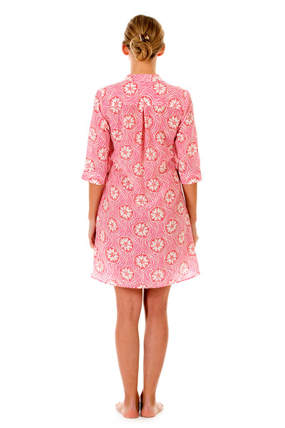 Lotty B Flared Dress in Silk Crepe-de-Chine (Sand Dollar Repeat, Coral) Back