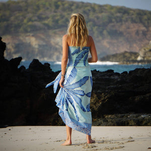 Elasticated shirred silk bandeau top Banana Tree Blue print worn with matching crepe de chine silk sarong by designer Lotty B Mustique