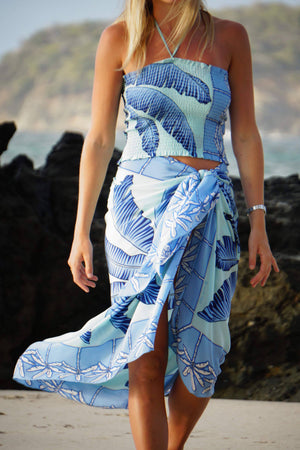 Large pure silk sarong wrap in Banana Tree blue design by Lotty B Mustique luxury resortwear