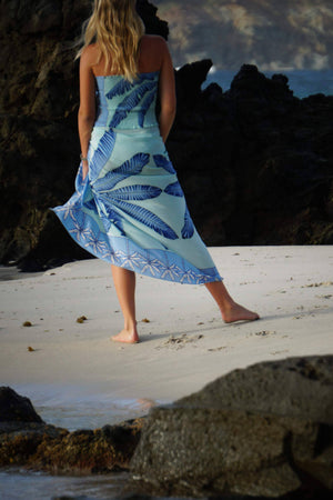 Large pure silk sarong scarf in Banana Tree blue design by Lotty B Mustique dress with matching shirred silk bandeau top