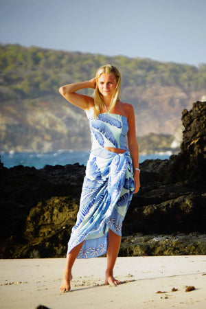 Large pure silk sarong cover up in Banana Tree blue design by Lotty B Mustique beautiful Caribbean beachwear