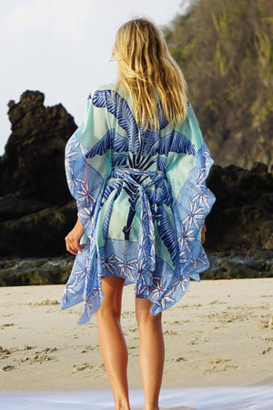 Lotty Kaftan: BANANA TREE - BLUE by designer Lotty B Mustique, short silk dress