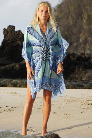 Lotty Kaftan: BANANA TREE - BLUE by designer Lotty B Mustique, beautiful silk kaftans