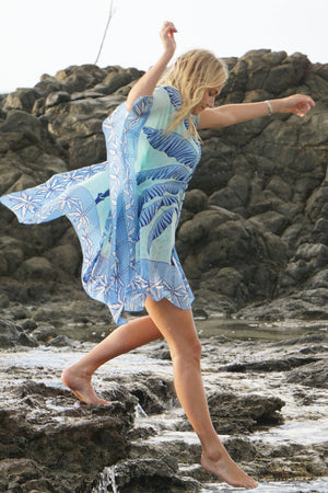 Lotty Kaftan: BANANA TREE - BLUE by designer Lotty B Mustique, beach lifestyle