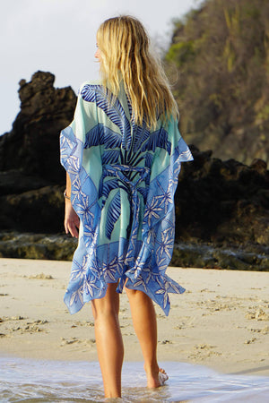 Lotty Kaftan: BANANA TREE - BLUE by designer Lotty B Mustique, luxury silk resort wear