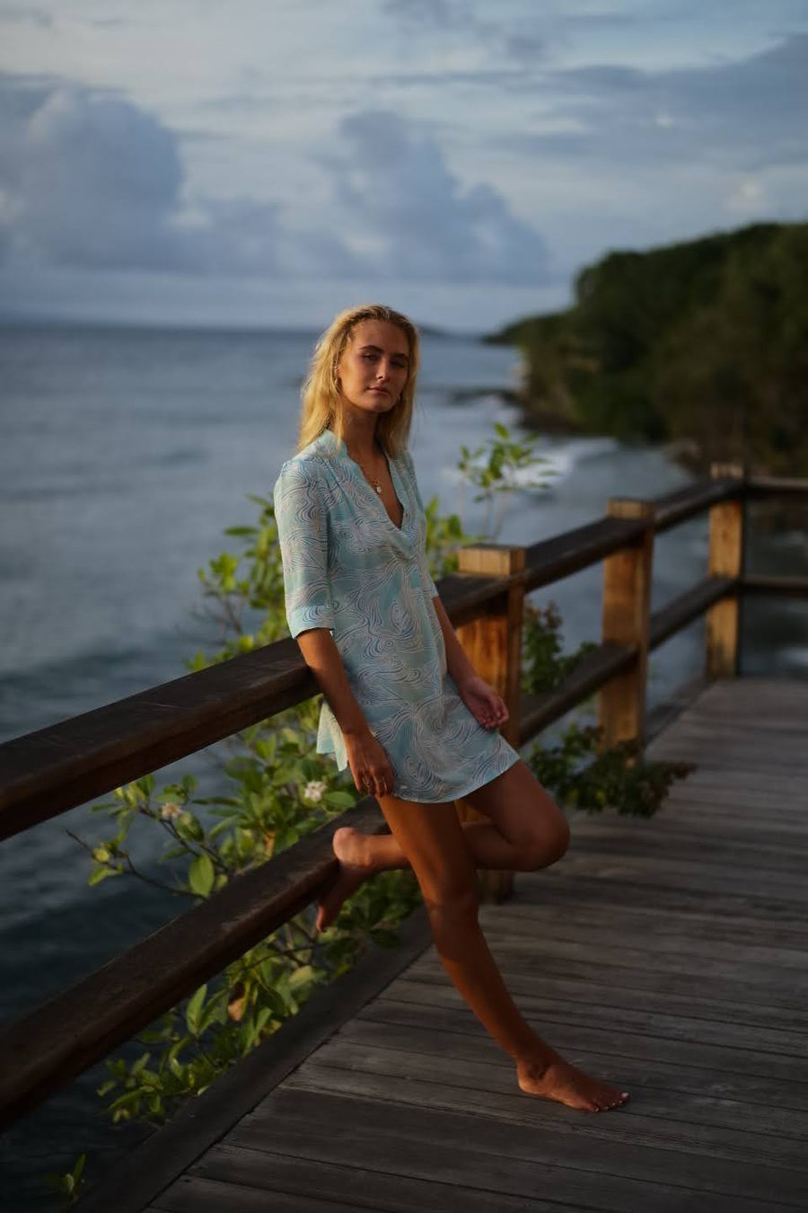 Designer silk Decima dress by Lotty B in Whale turquoise print, luxury style Heron Bay Mustique