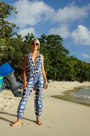 Lotty B Jumpsuit in Silk Crepe-de-Chine: FAN PALM REPEAT - BLUE luxury holiday wear by Lotty B Mustique