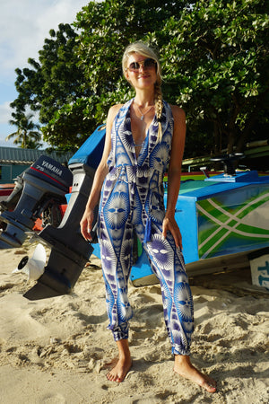 Lotty B Jumpsuit in Silk Crepe-de-Chine: FAN PALM REPEAT - BLUE designed by Lotty B Mustique, Caribbean