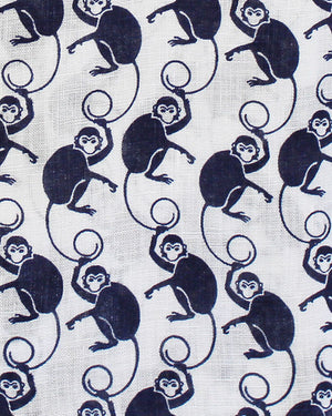 Mens Linen Shirt ~ Monkey (Navy) Detail