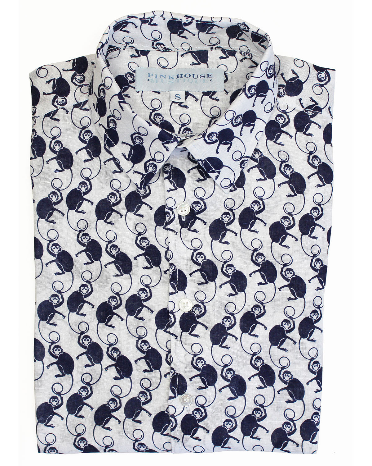 Mens Linen Shirt ~ Monkey (Navy)