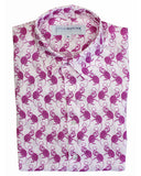Mens Linen Shirt ~ Monkey (Pink)