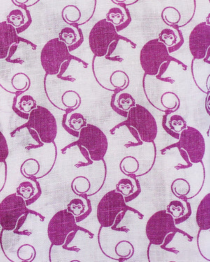 Mens Linen Shirt ~ Monkey (Pink) Detail