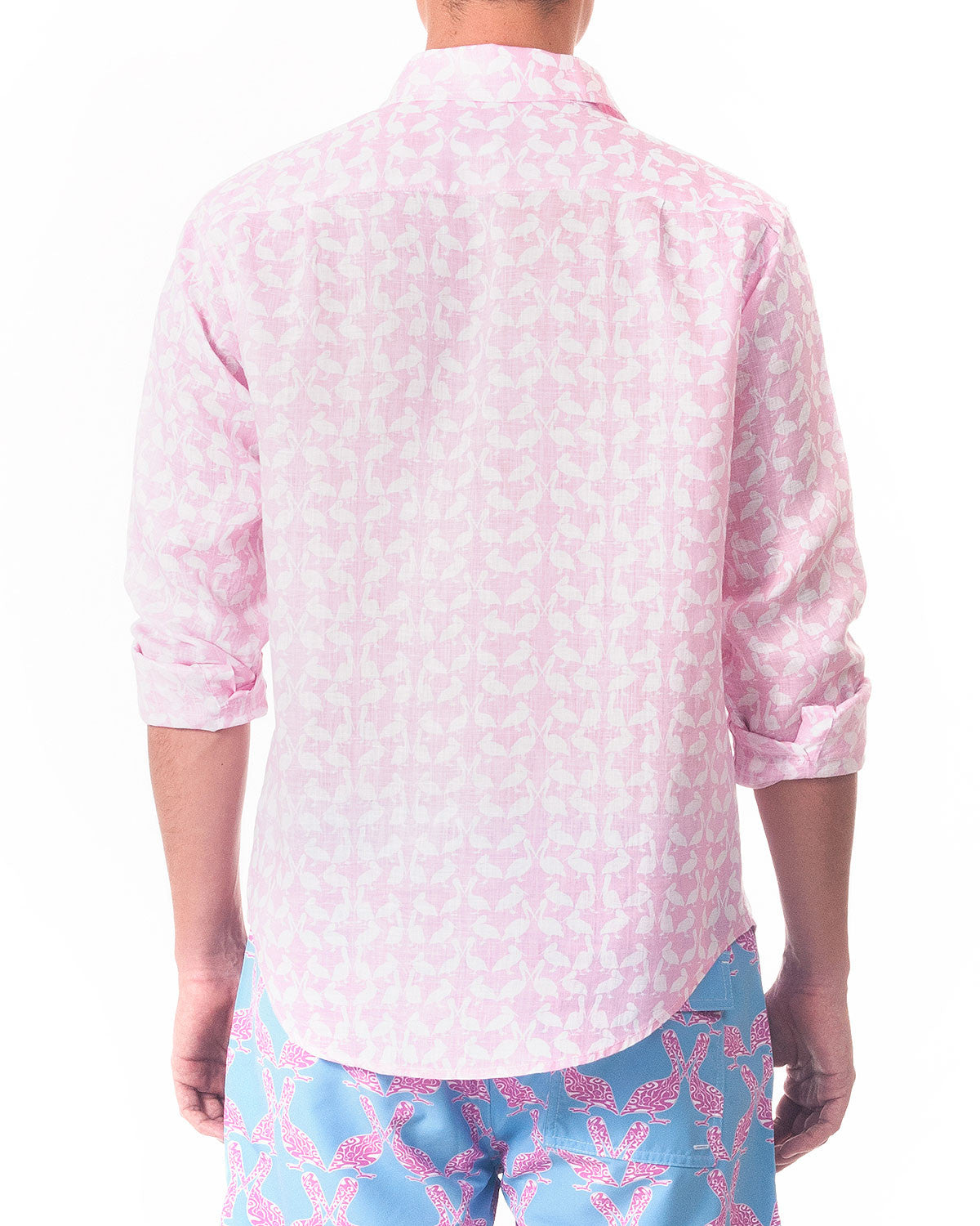 Mens Linen Shirt ~ Pelican (Pink) Back