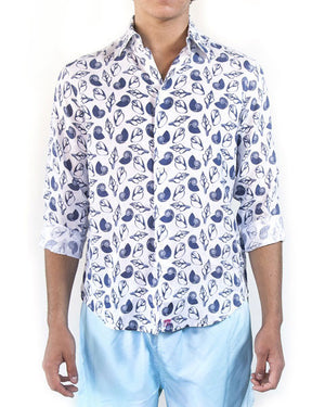 Mens Linen Shirts Shell (Navy) Front