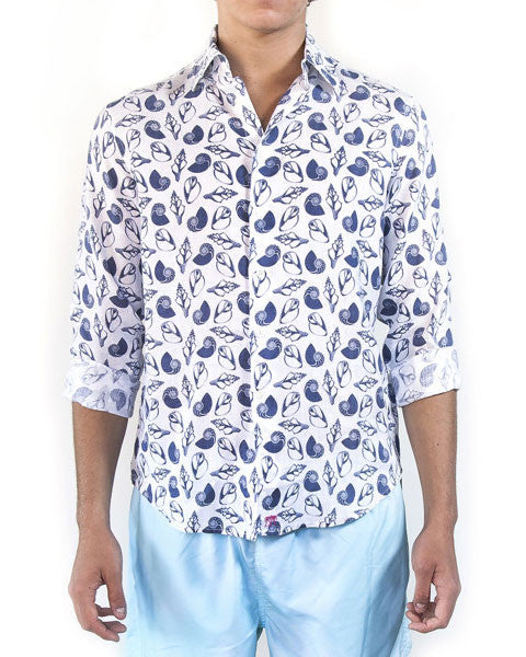 Mens Linen Shirts Shell (Navy)
