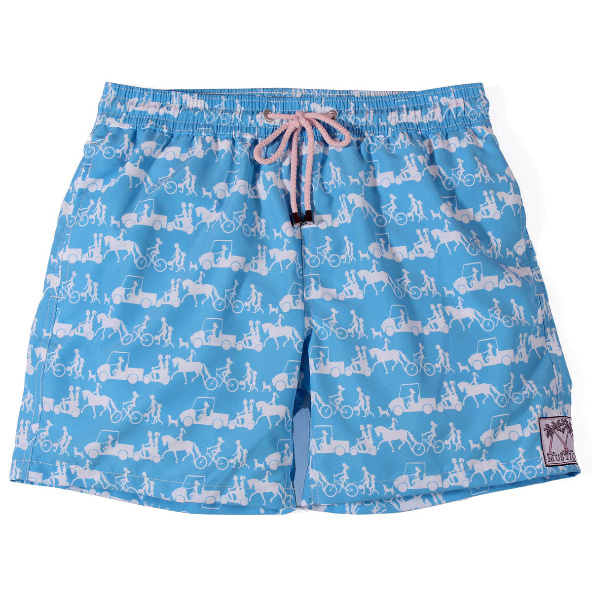 Mens Trunks Going to the Beach (Blue/White)