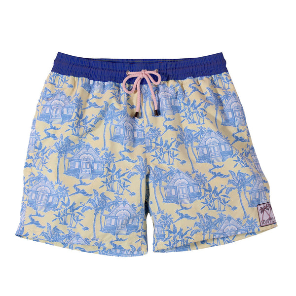 Mens Trunks Mustique Toile (Yellow/Blue)