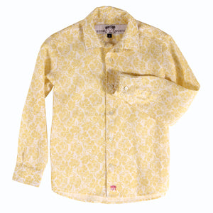 Childrens Linen Shirt: FRANGIPANI YELLOW