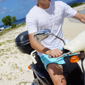 Mens T shirt: WHITE - WHITE MUSTIQUE applique