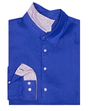 Mens designer Linen Shirt by Lotty B for Pink House Mustique in plain Dazzling Blue