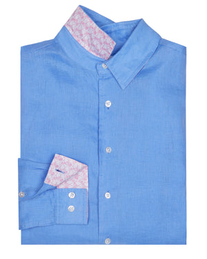 Mens designer Linen Shirt by Lotty B for Pink House Mustique in plain French Blue