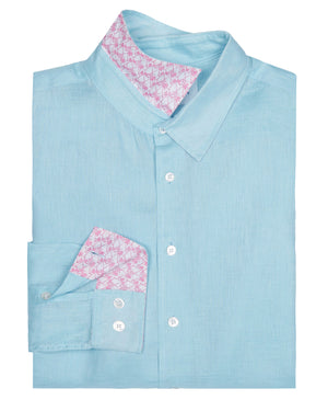 Mens designer Linen Shirt by Lotty B for Pink House Mustique in plain Pale Blue