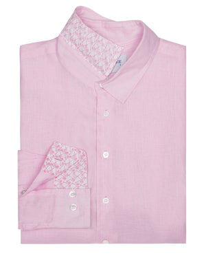 Mens designer Linen Shirt by Lotty B for Pink House Mustique in plain Pale Pink