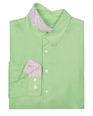 Mens designer Linen Shirt by Lotty B for Pink House Mustique in plain Pistachio Green